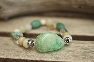 Náramky - Náramok z minerálov krištáľ, amazonit, jadeit - 9670180_