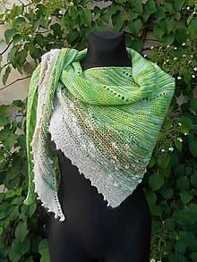 Šály - V zeleni...asymetrický pletený šátek - 9672951_