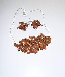 Sady šperkov - medové kvety, náhrdelník a náušnice - 9672881_