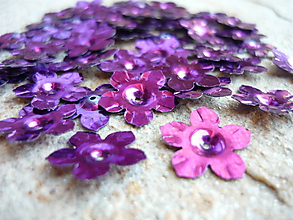Galantéria - Našívacia aplikácia/ružovo-fialové kvietky (50 ks) - 9675029_