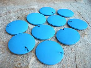 Korálky - Drevené korálky placky modré 10ks - 9675038_