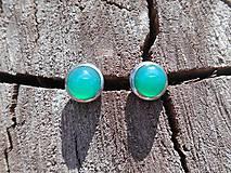 Náušnice - brincos com verde calcedonia - 9675011_