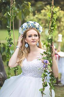 Ozdoby do vlasov - Svadobná kvetinová parta modrá - 9672555_