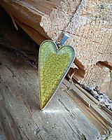 Náhrdelníky - Zelený srdiečkový náhrdelník - 9673489_