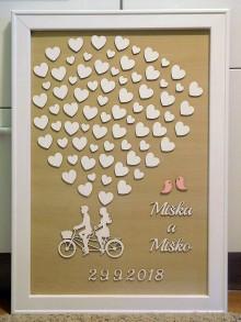 Dekorácie - svadobná kniha hostí/drevený bicykel 17 - 9673662_