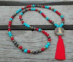Náhrdelníky - Japa Mala náhrdelník - jadeit, tyrkys, labradorit, hematit - 9673048_
