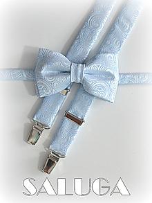 Doplnky - Svadobný set - motýlik a traky - modrý - luxusný - 9674031_