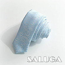 Doplnky - Svetlo modrá slim kravata - vzorovaná - luxusná - 9674049_