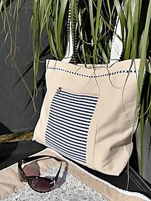 Veľké tašky - Plážová taška s modrým prúžkom - 9672874_