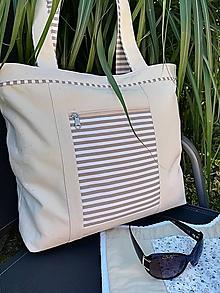 Veľké tašky - Plážová taška s béžovým prúžkom - 9673957_