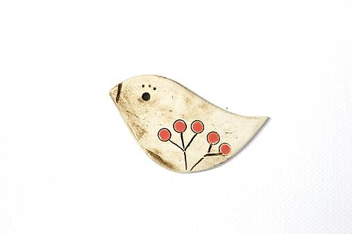 Keramická brošňa Vtáčik Anička