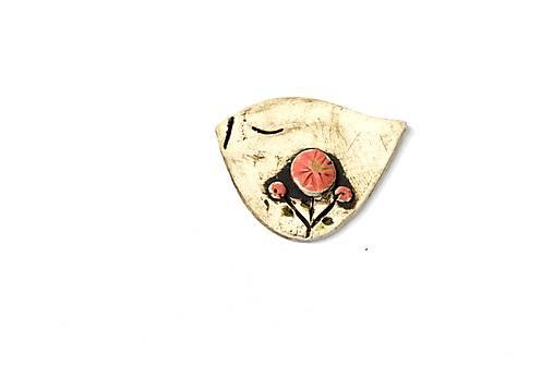 Keramická brošňa Vtáčik Lucka