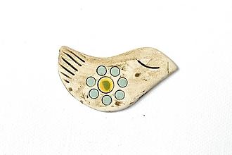 Odznaky/Brošne - Keramická brošňa Vtáčik Jarka - 9673305_