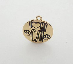 Komponenty - Prívesok s nápisom I ♥ MY CAT - 9673949_
