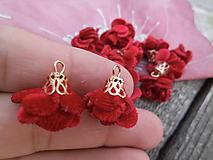 Mini kvietočky, strapce - pár (Červená semiš)