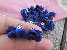 - Mini kvietočky, strapce - pár (Modrá semiš) - 9674506_
