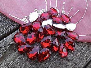 Komponenty - Kabošon sklenený 10 x 14 - kvapka  (Červená) - 9674406_