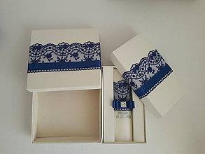 Svietidlá a sviečky - Sviečka na krst a krabička na košieľku kráľovská modrá - 9673335_