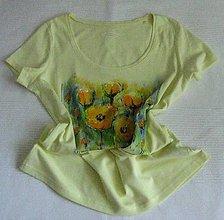 Tričká - Žlté tričko s makmi - 9676140_