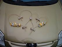 výzdoba svadobného auta žltá,biela, krémová  so zlatou