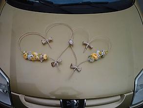 Kytice pre nevestu - výzdoba svadobného auta žltá,biela, krémová  so zlatou - 9676735_