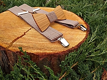 - Pánsky set - drevený motýlik a traky - 9677027_