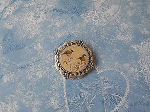 Odznaky/Brošne - Brošňa s vtáčikmi VIII. - 9677034_