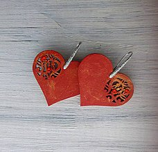 Náušnice - Náušnice srdce - červené - 9675826_
