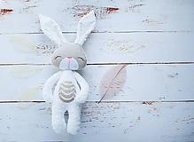 Hračky - Zajačik bielo-béžový - 9675816_