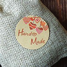 Papier - Nálepky Handmade so srdiečkami 12 ks - 9676440_