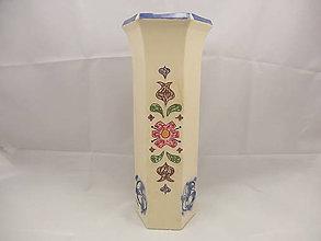 Dekorácie - Váza veľká B (Váza 6hran vzor 2) - 9675753_