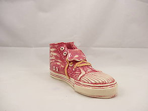 Dekorácie - Teniska Converse (stojan na perá, stojan na štetce, ťažítko, kvetináč) (Červená) - 9677125_