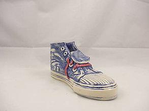 Dekorácie - Teniska Converse (stojan na perá, stojan na štetce, ťažítko, kvetináč) (Modrá) - 9677128_