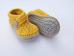 Topánočky - Papučky so sivým gombíkom (horčicovo-žltá) - 9675460_