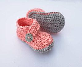 Topánočky - Papučky so sivým gombíkom (lososovo-ružová) - 9675478_