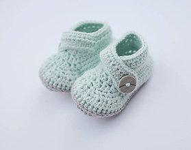 Topánočky - Papučky so sivým gombíkom (mentolová) - 9675504_