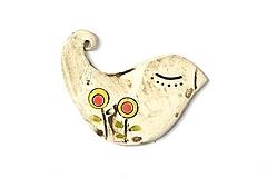 Odznaky/Brošne - Keramická brošňa Vtáčik Zuzka - 9675344_