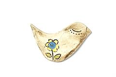 Odznaky/Brošne - Keramická brošňa vtáčik Ester - 9675356_