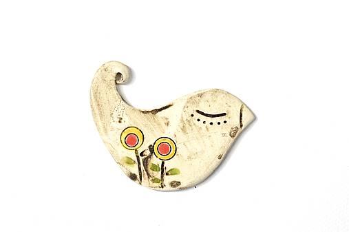 Keramická brošňa Vtáčik Zuzka