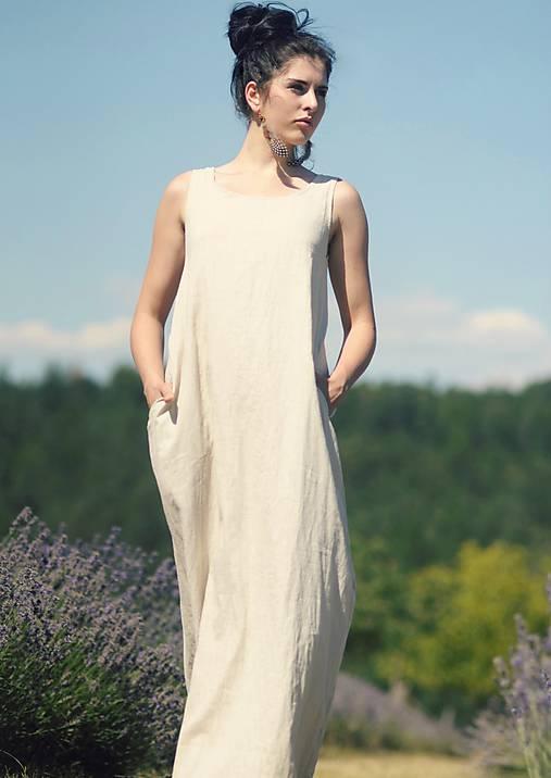 Šaty - Lněné maxi šaty - 9676068_