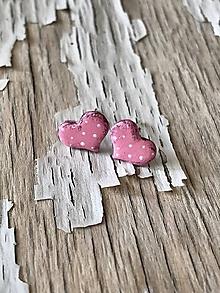 Náušnice - maľované bodkované srdiečka (PiDi ružové) - 9676896_