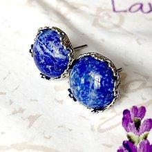 Náušnice - Lapis Lazuli & Stainless Steel Ornament Earrings / Náušnice s lazuritom (chirurgická oceľ) /0155 - 9678626_