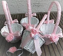 Dekorácie - košíček pre družičku (ružový s ružičkami) - 9678543_