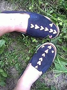 Obuv - topánočky slip on srdiečka - 9680295_