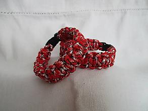 Šperky - Paracordový náramok - červený - 9678246_