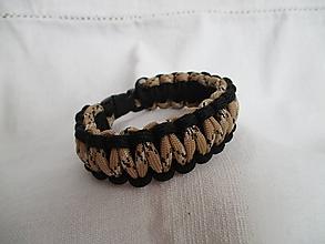 Šperky - Paracordový náramok - hnedo-čierny - 9678269_