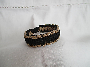 Šperky - Paracordový náramok - čierno-hnedý - 9678280_