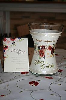 Dekorácie - Váza - svadobná - pivoňkové ruže - 9680064_