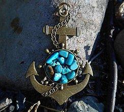 Náhrdelníky - na prázdniny k moru...kotva s tyrkysom - 9680334_