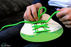 Hračky - Šnurovacia topánka - prírodná - na jemnú motoriku a mašličky - 9680225_